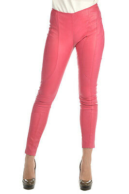DROMe New Woman Pink Lipstick Leather Leggings Pants Trouser Size S MADE ITALY