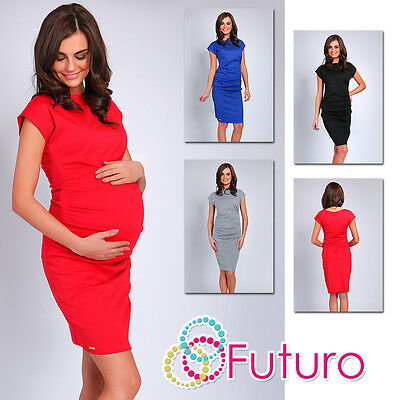 Ladies Elegant Maternity Ruffle Dress Boat Neck Pregnancy Tunic Size 8-14 FA377