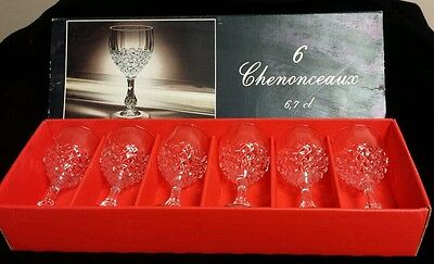 NEW Cristal D'Arques Chenonceaux 6.7cl Crystal Cordial Glasses, Set of 6, France