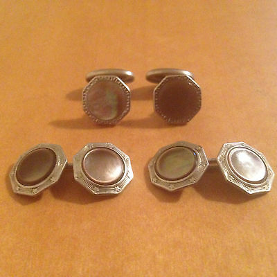 Vintage Silver Plated Art Deco Cufflinks Tuxedo French Cuff - Mother of Pearl