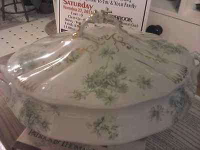 RARE Vintage Vegetable Gold Daisy Green Floral covered dish W.H. Grindley 1800's