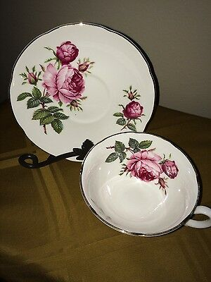 Royal Grafton Footed Pink Rose Fine Bone China Tea Cup And Saucer Made In Englan
