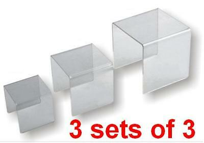 3 x Acrylic Riser Stand Set of 3