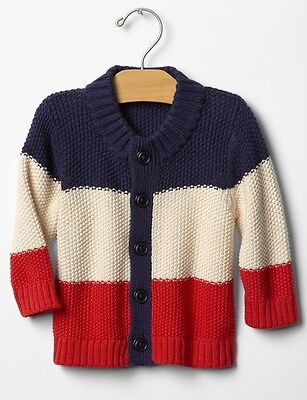 GAP Baby Boy 3-6 Months NWT Red / Ivory / Navy Blue Button Down Cardigan Sweater