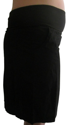 Black Knee Length Casual Maternity Lightweight Cotton Skirt Size 10 12 14 16 18