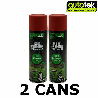 2x AUTOTEK Professional Red Primer 500ml Spray Paint High Coverage