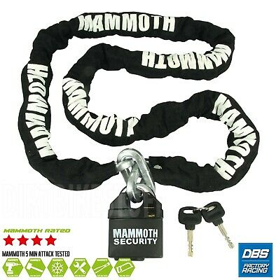 MAMMOTH MOTOCROSS MOTORCYCLE SCOOTER SECURITY PADLOCK LOCK AND & CHAIN 1.8m