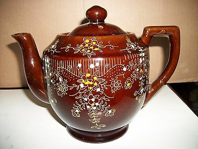 Vintage Brown Betty Redware Tea Pot Japan w/ Lid - Hand Painted
