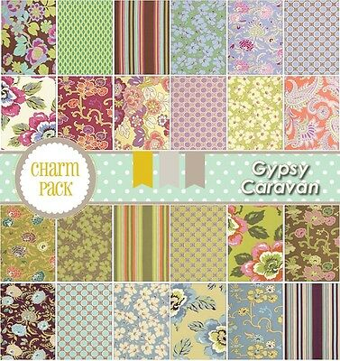 """Gypsy Caravan  By Amy Butler -  Charm Pack 30 6"""" Fabric Squares"""