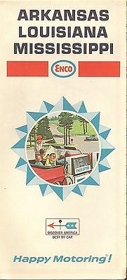 1968 ENCO HUMBLE OIL Road Map ARKANSAS LOUISIANA MISSISSIPPI New Orleans Memphis