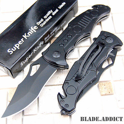 "8"" Black Tactical Combat Spring Assisted Open Pocket Rescue Knife 5724-T"