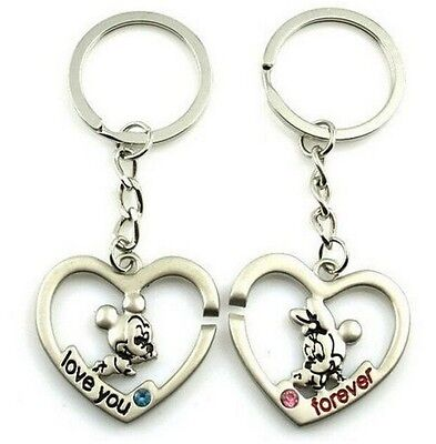 FD899 Sweet Mickey Minnie Mouse Lover Keychain Keyring Keyfob Gift 1 Pair 2pcs:)