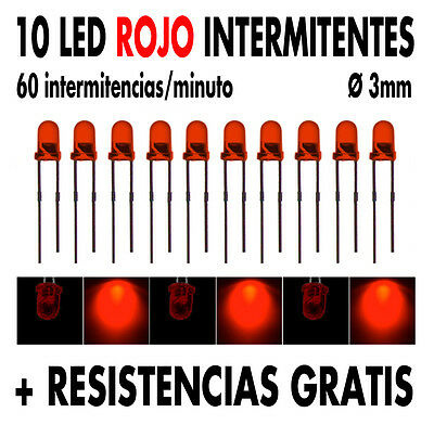 10 x Led INTERMITENTE Ø 3 mm Rojo + resistencias + tutorial. NUEVOS !!