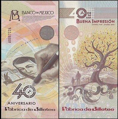 Mexico 40th Anniversary of Banknote Factory, 1969-2009, Test Banknote, Specimen