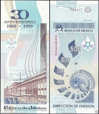 Mexico 30th Anniversary of Banknote Factory, 1969-2000, Test Banknote, Specimen