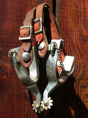 CROCKETT Ladies Spurs, with simple straps and engraved Sides.