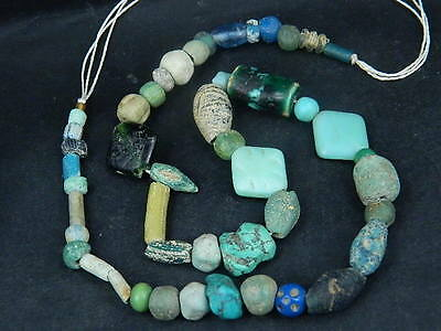 Ancient Islamic Glass Etc. Beads Strand C.1200 AD  #BE1523
