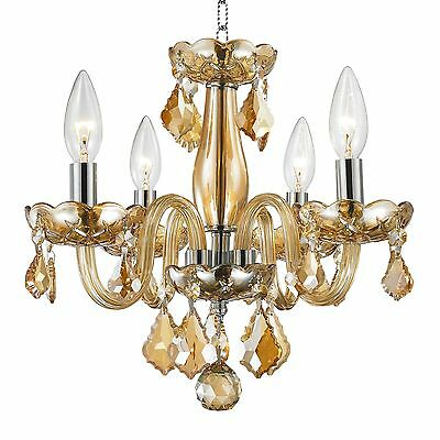 """CLEARANCE SALE Clarion 4 Light Amber Crystal Small Mini Child Chandelier 16""""x12"""""""