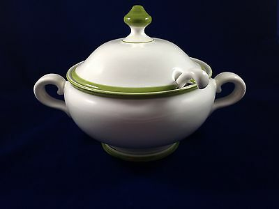 Vintage Large White Soup Tureen w/ Lid & Ladle - Made in Portugal