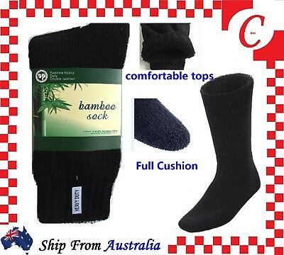 6Prs MEN MENS BAMBOO Thick WORK SOCKS Heavy Duty CUSHION Size 6-11,11-13 Bulk