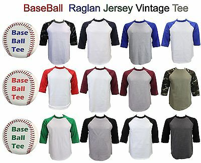 Men Baseball Tee Plain T Shirt Raglan Jersey Vintage 3/4 Short Sleeve Sizes~3Xl