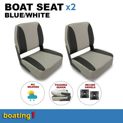2 Deluxe Boat Seats Grey/Charcoal With Swivels