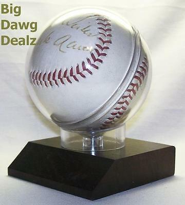 Baseball Display Case Holder with Wooden Base - FAST SHIPPING