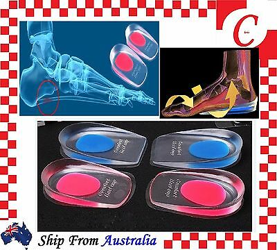 Massage Silicone Gel Heel Shoe Pads Inserts Insoles Support Spur Cushion