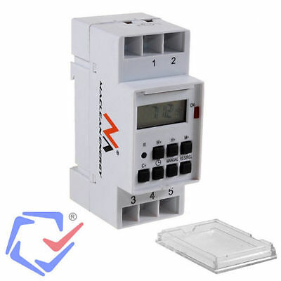Digital Timer Switch Programmable Time Relay Switch DIN 16A RAIL 220V 100h