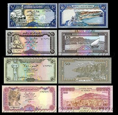 Set of 4Pcs Banknotes,Yemen 10+20+50+100 Rials Africa Paper Money Uncirculated
