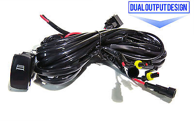 LED Light Bar Wiring Harness 40AMP Relay Fuse On/Off Rocker Switch 2 Leads Kit