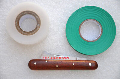 GRAFTING BUDDING ROSEWOOD KNIFE w/ BARK LIFTER+NURSERY TYING TAPE+ GRAFTING TAPE
