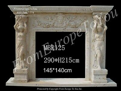 Monumental Hand Carved Marble Figural Fireplace Mantel