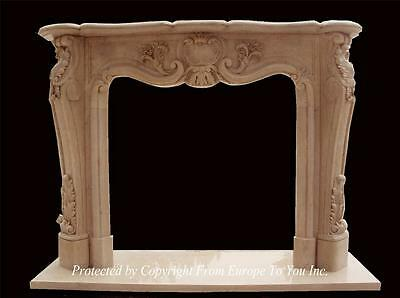 Beautiful Hand Carved Marble French Style Fireplace - Fpm803