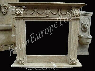 Hand Carved Stone Old World Style Fireplace Jn27