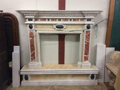 Hand Carved Marble Multi Colored Estate Fireplace Mantel - Bf1