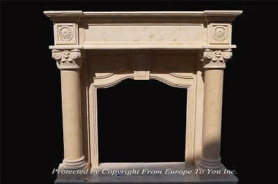 Beautiful Hand Carved Marble Classical Fireplace Mantel - Jp56