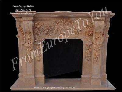 Beautiful Hand Carved Marble Fireplace Mantel - Fpm587