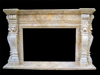 Beautiful Hand Carved Marble Lion Travertine Fireplace Mantel - Hl27