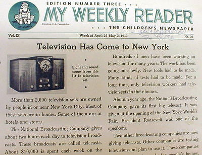 Rare 1940 Weekly Reader children's newspaper New INVENTION TELEVISION EXPLAINED