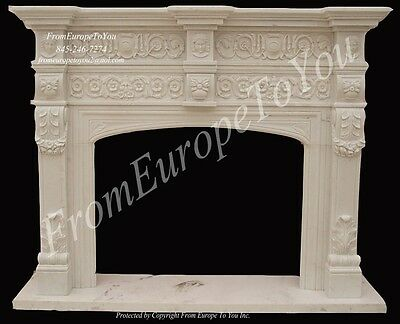 Beautiful Hand Carved Marble Fireplace Mantel Mnt2