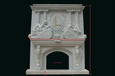 Monumental Hand Carved Marble Fireplace Mantel Fpm533