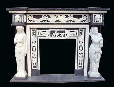Hand Carved Figural Solid Marble Fireplace Mantel Xf089