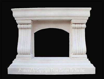 Beautiful Hand Carved Marble Estate Designer Fireplace Mantel - Fpm265