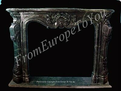 Hand Carved Jade Green Marble Carved Estate Fireplace Mantel Tl16