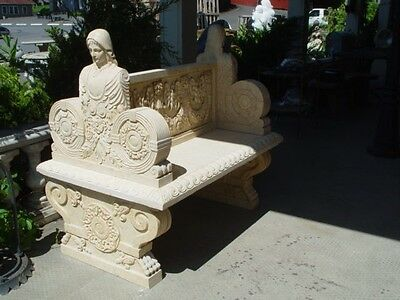 Nice Hand Carved Marble Figural 2 Seated Bench - B2