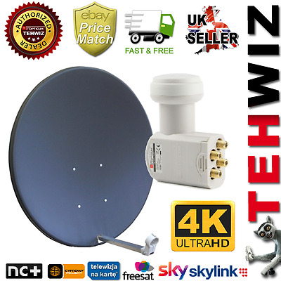 Corab 80Cm Satellite Dish with QUAD (4out) for Sky, Freesat, Astra Hotbird, Thor