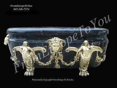 Hand Carved Marble And Bronze Castle Bath Tub #64