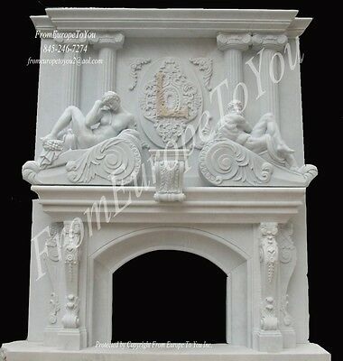 Hand Carved Marble Castle Fireplace Mantel Fpm104
