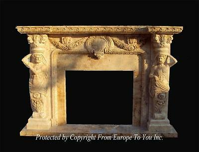 Incredible Hand Carved Solid Marble Figural Estate Fireplace Mantel - Yf026